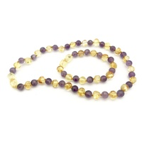 Lemon Baltic Amber + Amethyst